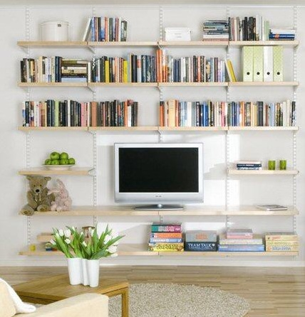 living-room-shelving-ideas-Hanging-birch-wooden-shelves