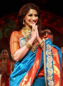 """Mumbai: Actress Sonali Bendre at a fashion show during """"Make in India"""" event in Mumbai on Wednesday. PTI Photo(PTI2_18_2016_000042B)"""