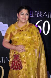 Tamil Actress Kushboo in Gold Color Tussar Silk Saree Photos