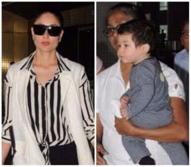 Kareena And Taimur Spotted Twinning In Stripes