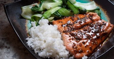 Fish Special: Spicy Salmon With Bok Choy and Rice