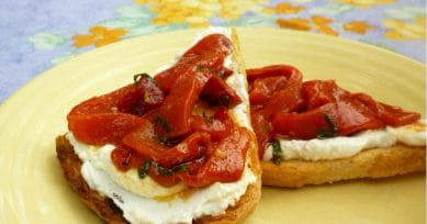 Party Snacks: Roasted Pepper And Olive Bruschetta Recipe