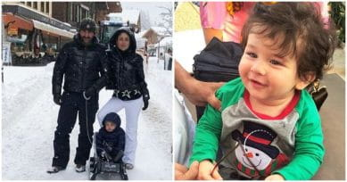 VIRAL PIC: Taimur Ali Khan Is Enjoying His First Snowfall With Parents Saif & Kareena