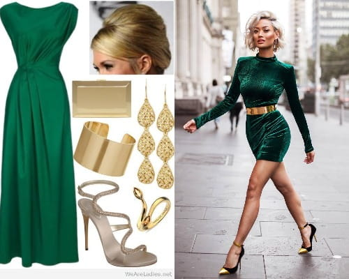 Greens and Golds Outfits For Women