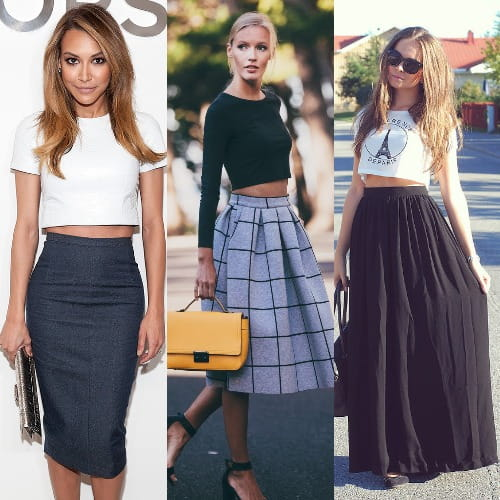 551d8d54f6 An easy way to style your skirts is with crop tops and cropped tee. This  helps create a balance between your top and bottom as separate looks even  if they ...